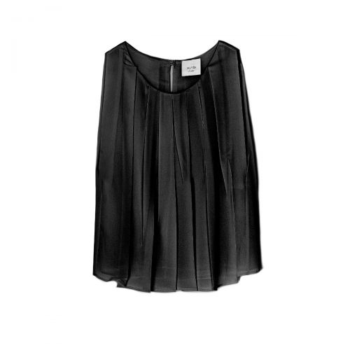 alysi top plissè georgette girocollo woman top 101262