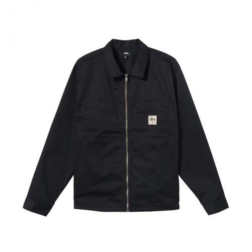 stussy zip up work ls shirt uomo camicia 1110183