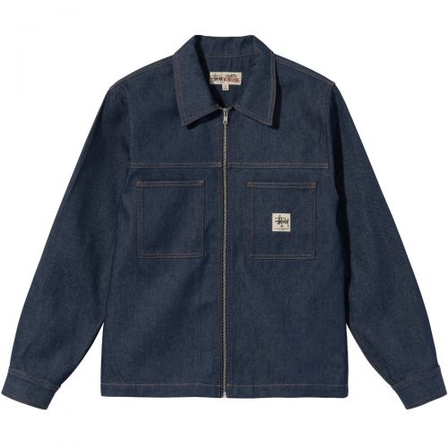 stussy denim zip up work hombre camisa 1110184