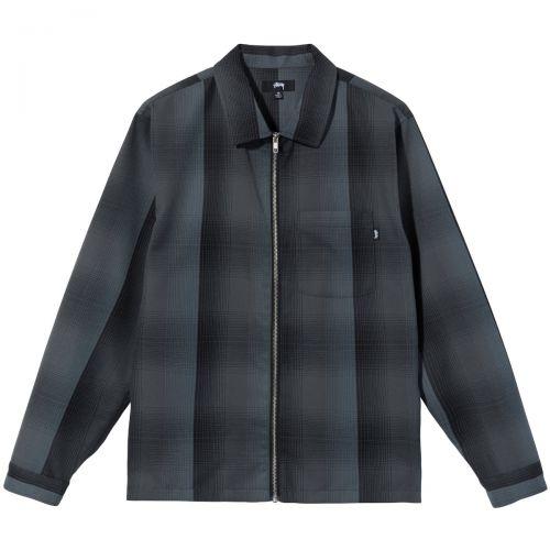stussy shadow plaid zip uomo camicia 1110189