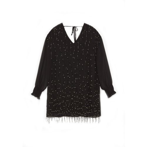 tresor by ottod'ame mini con applicazione frange e gioiello woman shirt TA3808